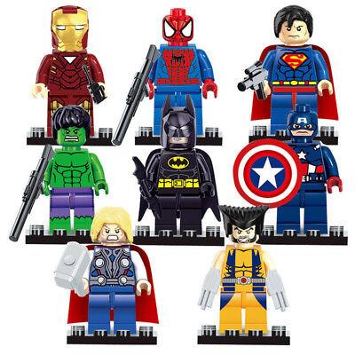 8PCS Avengers BatMan Hulk Thor Super Heroes Mini Figures Fits Lego Blocks Toys