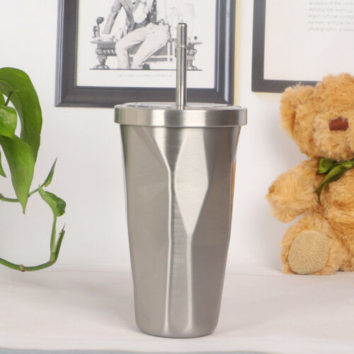 Stainless Steel Straw Cup Mug Coffee Travel Ice Drinking Lid Funny Novelty Gift