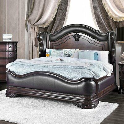 1pc Bedroom Furniture Cal King Size Bed Sold Wood Brown Cherry Slats HB FB ()