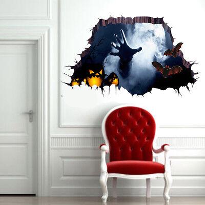 3D Abnehmbare Happy Halloween Wandaufkleber Wanddeko Zimmer Dekor Terror 45X60cm (3d Happy Halloween)