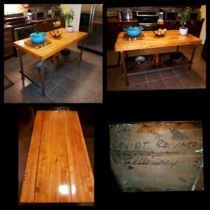 Antique butcher block industrial kitchen island / table.
