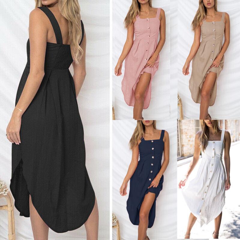Damen Ärmellos Sommerkleid Strandkleid Tunika Freizetkleid Trägerkleid Mit Knopf