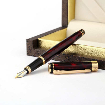 Hero 1078EP Red Metal China Fountain Pen Push Cap Fine Nib 0.5mm Box Office