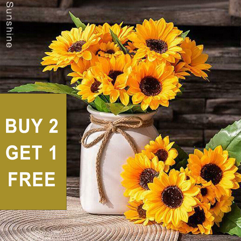 Home Decoration - Artificial Decor Fake Home Bouquet Sunflower Silk Flowers Flower Garden Wedding