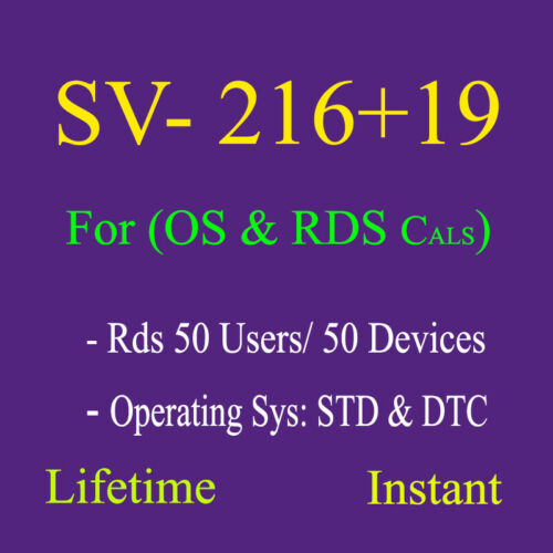 Rds 50 users or devices, 2016 Cals, remote, desktop, Services, 2019 Rds Cals