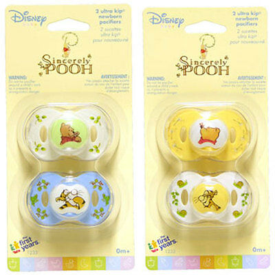 2 Sincerely Winnie The Pooh Newborn Baby Pacifiers 0  Mo The First Years 1Pk Nip