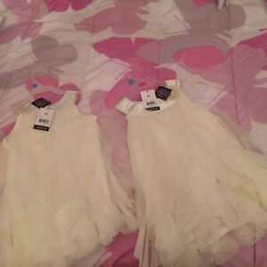 Sparking off white frilly dresses 3T&4T (Brand new w tags)