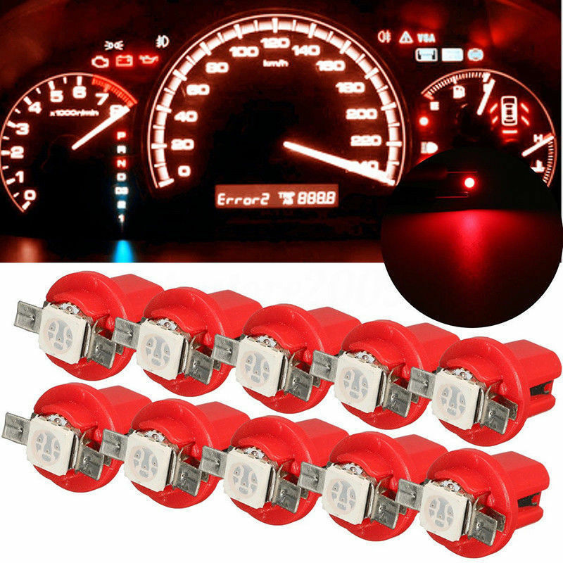 Car Parts - 10x T5 Car Gauge 5050 1SMD 12V LED Speedo Dashboard Dash Side Light Bulb Red