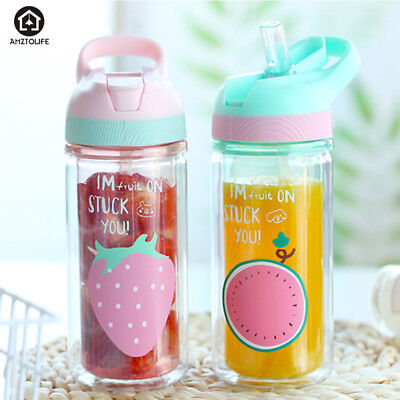 Plastic Water Bottle With Straw 360ml Leak-proof Cute Sport Bottles for Kids (Water Bottles With Straws)