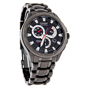 Citizen Calibre 8700 Eco-Drive Mens Black Stainless Steel Watch BL8097-52E