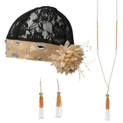 20er Charleston-Set Flapper Kostüm Accessoires - Haar- Hals- & Ohrschmuck (Flapper Kostüm Accessoires)