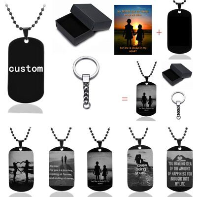 Family Personalized Photo Custom Dog Tag Engraving Necklace Free Keychain Box (Customized Dog Tag Necklaces)