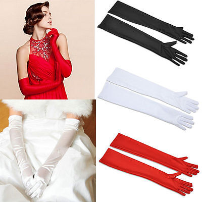 Ladies Long Satin Gloves Opera Costume Bridal Party Prom Wedding Womens - Long White Costume Gloves