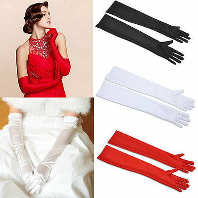 White Opera Gloves (Ladies Long Satin Gloves Opera Costume Bridal Party Prom Wedding Womens)
