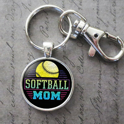 Charm Softball Mom Glass Cabochon Key Chain Pendant Accessories Jewelry - Softball Keychains