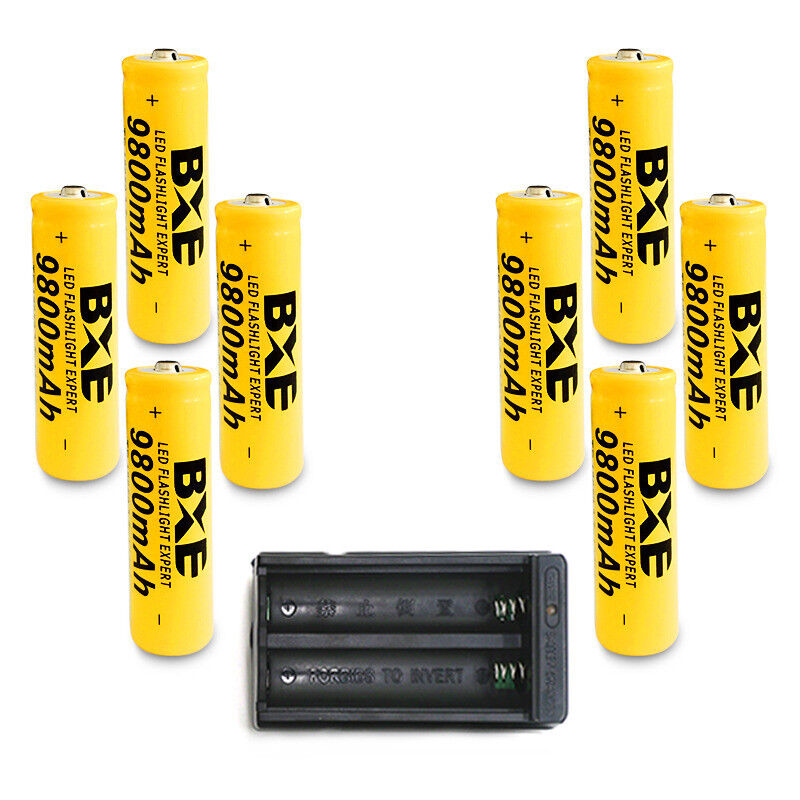 8pcs BXE 18650 Battery 9800mAh Li-ion 3.7V Rechargeable Batteries Cell + Charger