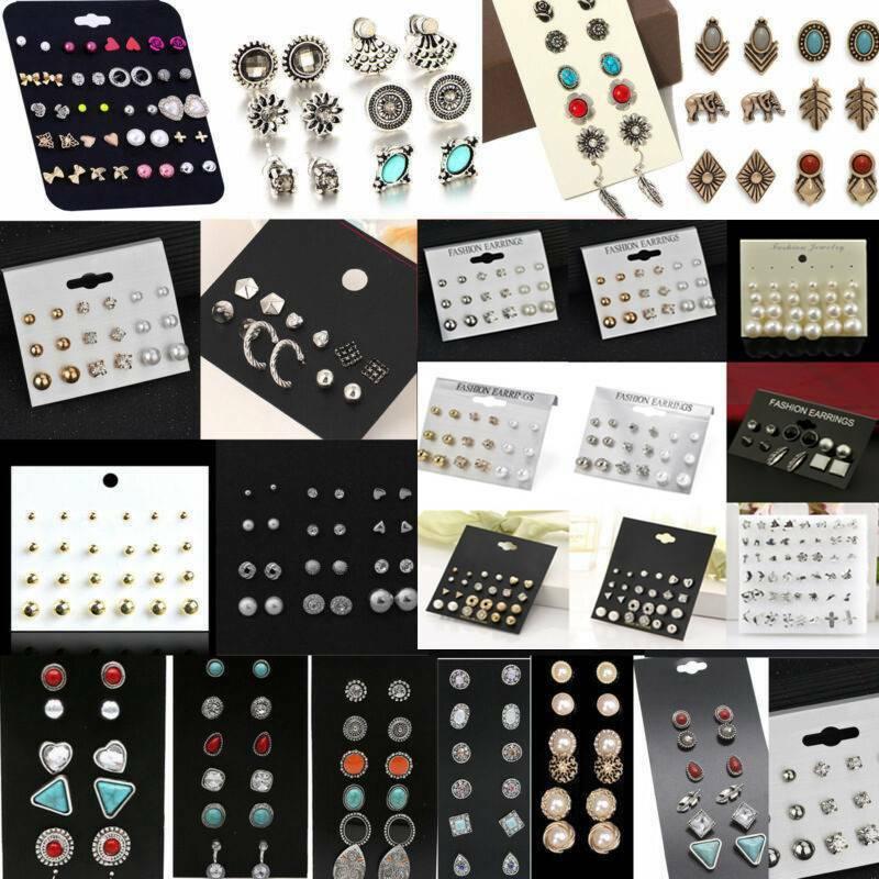 12/24 Pairs Fashion Women Earrings Set Rhinestone Crystal Pe