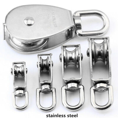 Stainless Steel 304 Rope Single Sheave Rope Pulley Pully Wheel Swivel Pulley