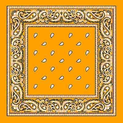 Gold PAISLEY Cotton Bandana BANDANNA Skull Head Wrap SCARVE SCARF Handkerchief - Gold Bandanas