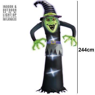 Aufblasbare LEUCHTENDE HEXE mit Ventilator 244cm Halloween Party Grusel Deko 504