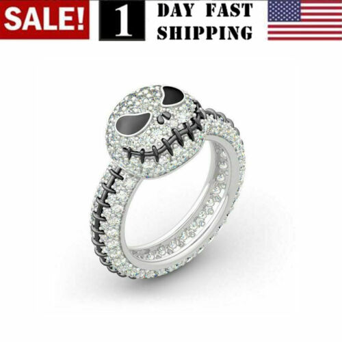 US! Jack The Nightmare Before Christmas Ring White Silver Halloween Cosplay Gift Fashion Jewelry