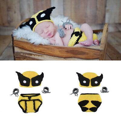 Wolverine Baby Costume (Newborn Baby Boys Wolverine Crochet Knit Costume Photo Photography Prop)