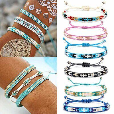 Boho Wave Strand Beaded Bracelet Braided Rope Handmade Waterproof Bangle Jewelry