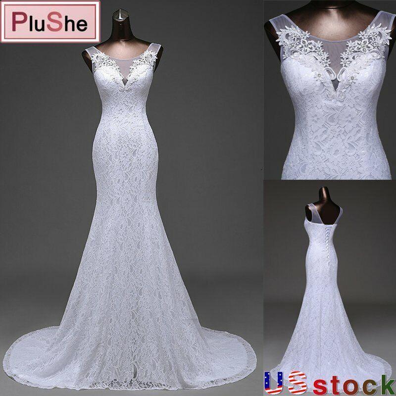 Women Lace Wedding Dress O Neck Sleeveless Beach Mermaid Gown Bride Dresses US