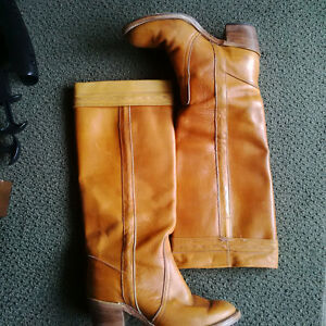Beautiful Cognac Leather Campus Style Boots