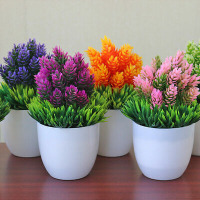 Artificial Potted Plant Fake Plastic Flowers Office Desk Home windowsill -