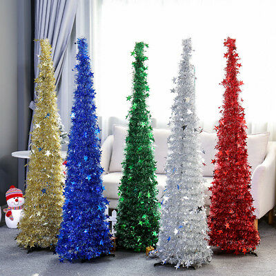 5Ft Christmas Pencil Tinsel Tree Xmas Collapsible Sequin Bling Home Party Decor - Tinsel Christmas Decorations