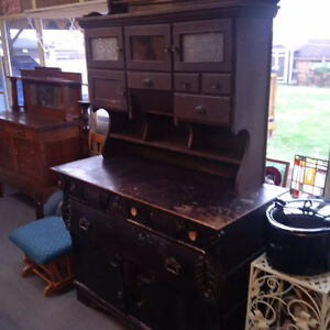 old vintage hutch and kitchen cabinet