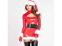 Details about fantasias Cosplays Shiny Faux Leather Hollow-out Christmas Costume Dress Women