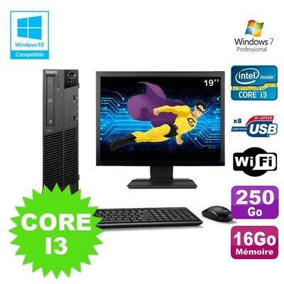 Lot PC Lenovo M91p 7005 SFF Core I3 16Go 250Go Wifi Graveur W7 Pro Ecran 19