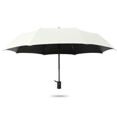 Women Compact Folding Sun Rain Umbrella Parasol Portable Windproof Anti UV White - White Umbrella