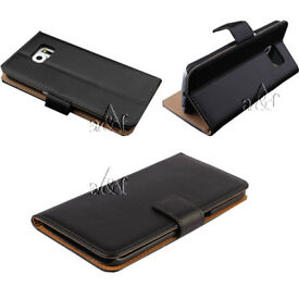 Job Lot 100x Genuine Real Leather Flip Wallet Case Cover For Samsung Galaxy S6 + Screen Protector