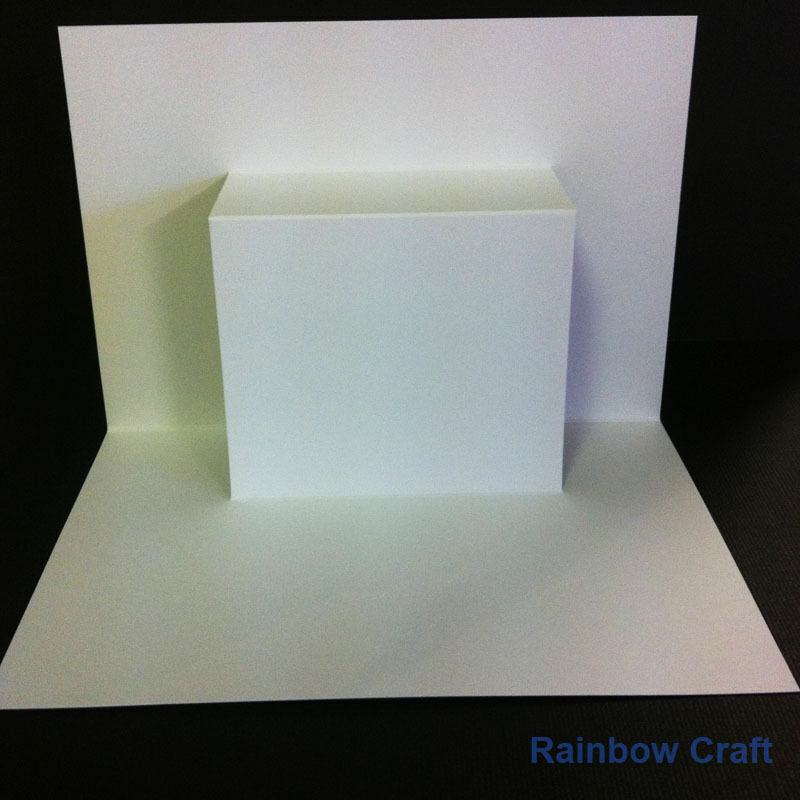 10 Blank Cards & Envelopes / Scallop Edge / step card / DL / Horizontal / Swing - Step Card