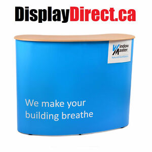 Tradeshow Display Pop Up Curved Counter + Custom Graphic Wrap