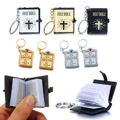 Cross Keychain (New Mini Bible Keychain English HOLY BIBLE Religious Christian Jesus Book)