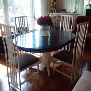 Solid Wood Kitchen table with metal chairs