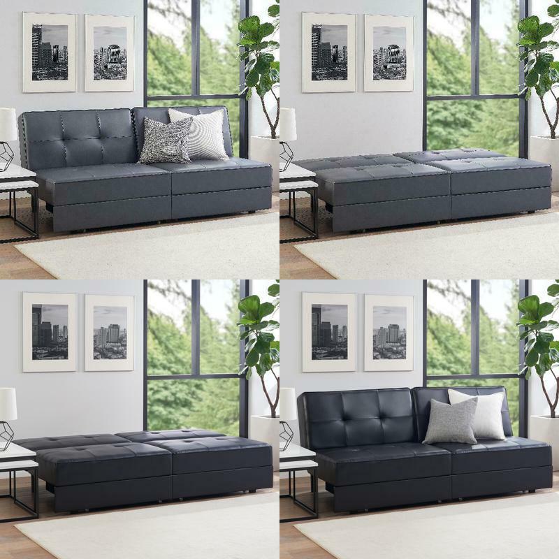 pu leather storage futon sofa bed
