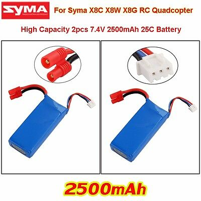 Upgraded 2x 7.4V 25C 2S 2500mAh Li-po battery Kit for Syma X8C X8W X8G RC Drone