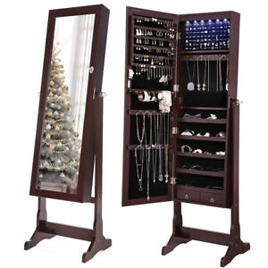 Jewelry Cabinet Lockable Standing Mirrored Jewelry Armoire