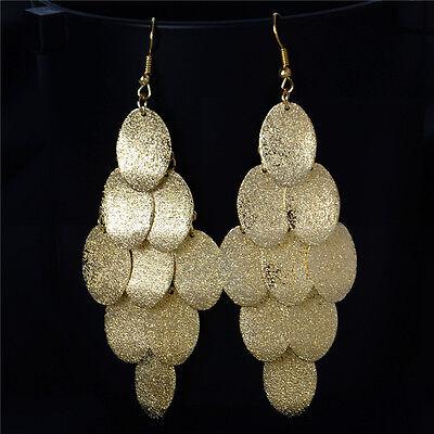 Gold Silver Round Metal Chandelier Earrings Women Lady Drop Dangle Hook Jewelry