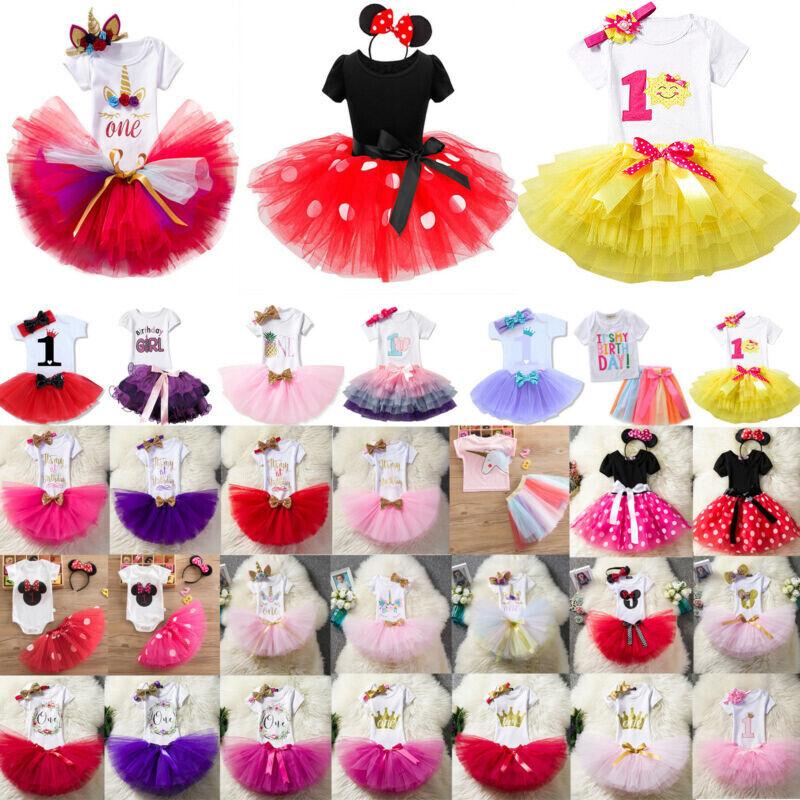 1 Jahre Geburtstag Partykleid Baby Mädchen Prinzessin Tutu Kleider Outfit Sets