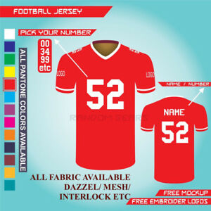 AMERICAN FOOTBALL JERSEY NFL NIKE REEBOK ANY DESIGN WITH YOUR NA