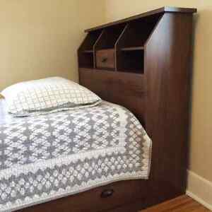 Twin Bed Frame with Mattress and Shelved Headboard