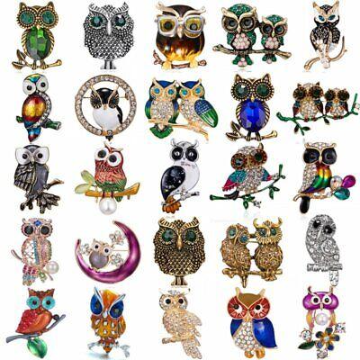 Enamel Animal Charm - Charm Women Animal Owl Brooch Pin Crystal Pearl Enamel Wedding Jewelry Gift Hot