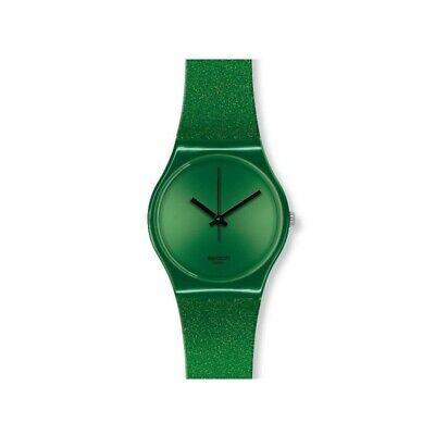 Swatch Originals Deep Shine Green Dial Silicone Mens Watch GG213