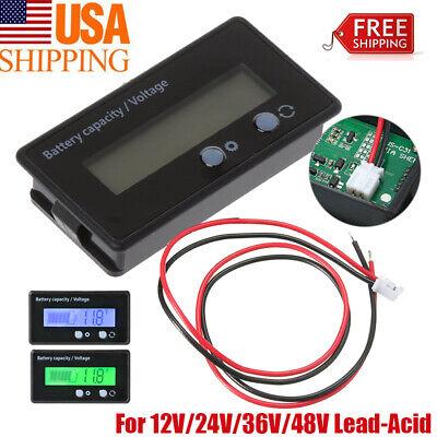 12v-48v Indicator Battery Capacity Voltage Tester Lcd Display Lead-acid Monitor